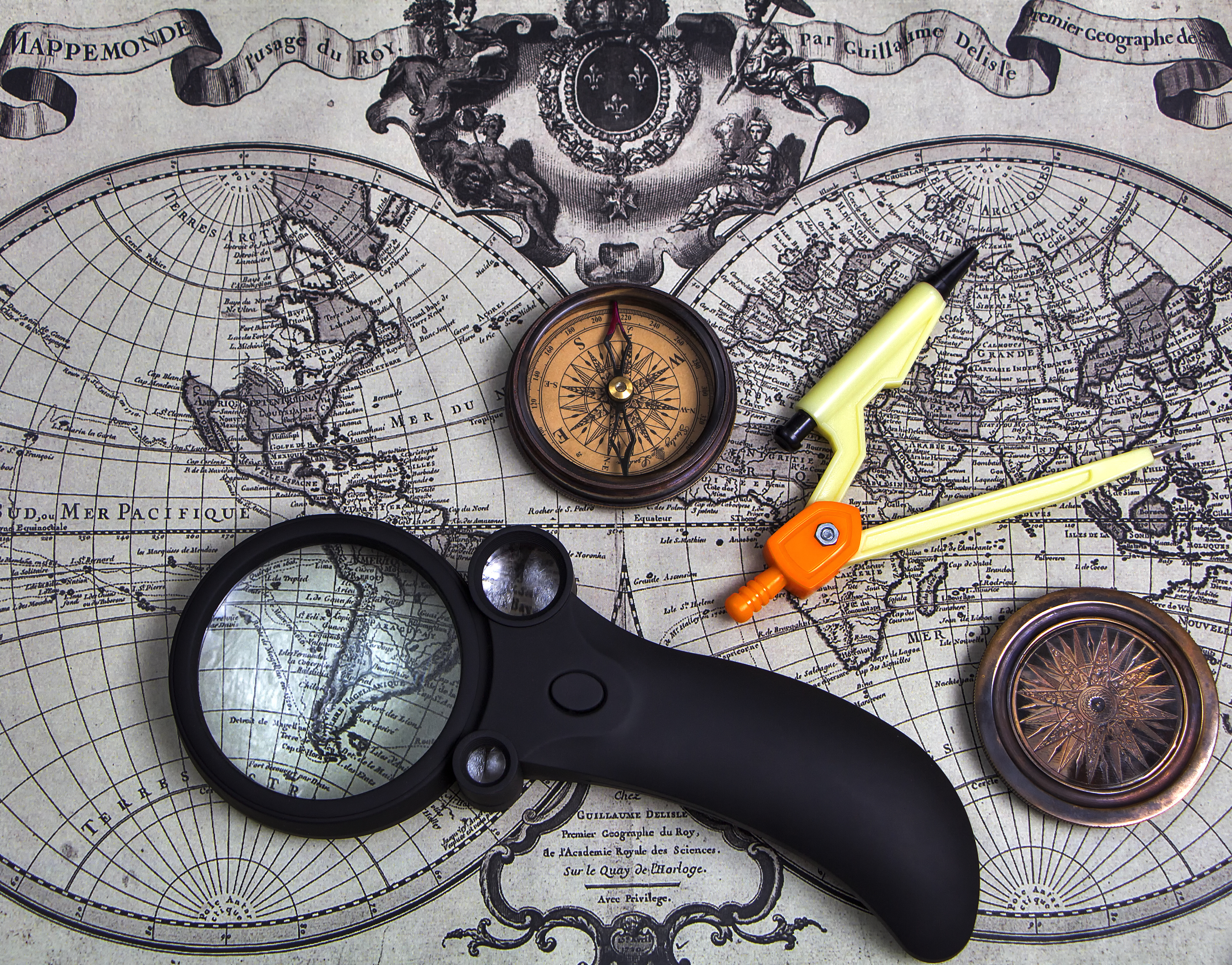 A set of tools for travel on the background of the world map.